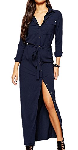 Tie Waist Front - Sexy Long Maxi Shirt Dress With Pocket Collar Front Slit Self Waist Tie Navy Blue L