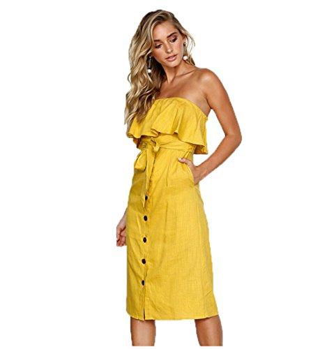 Volante Vestido la de Hombro Fuera del Línea del ALAIX Mujeres del Amarillo de Correa Las Casual Moda Una del Botón Frente La con Tnwpz4