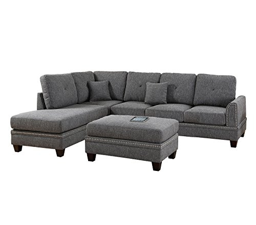 Poundex Y651115 PDEX-F6511 2-Pcs Sectional Sofa, Grey (Pc 2 Sectional)