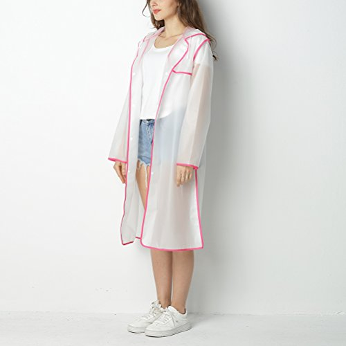 Long Pink Poncho Les Avec Veste Pour Poche Raincoat Adult Fashion Zhuhaitf Manteau De Transparent Coloré Bord Pluie Femmes Imperméable YUFgxwq