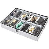 storageLAB Under Bed Shoe Storage Organizer, Adjustable Dividers - Fits Up to 12 Pairs - Underbed Storage Solution
