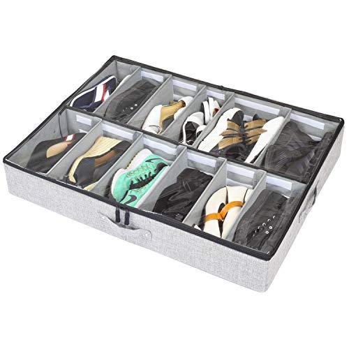 storageLAB Under Bed Shoe Storage Organizer, Adjustable Dividers - Fits Up to 12 Pairs - Underbed Storage Solution (Best Under Bed Storage For Dorms)
