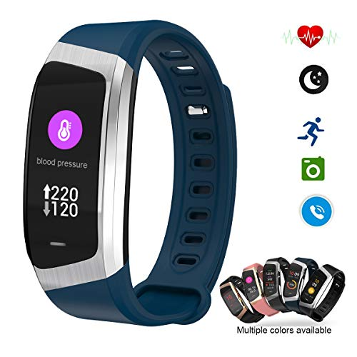 Smart Watch Color Touchscreen 2018 Newest Special Edition Bluetooth Sport Band with Heart Rate & Blood Pressure & GPS Sleep Monitor Fitness Activity Tracker, Android iOS(Blue&Silver)