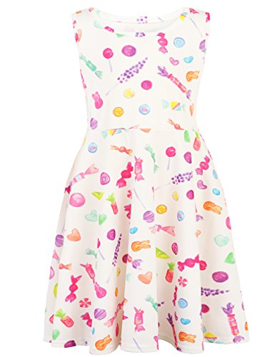 Floral Candies Dress (Funnycokid Cute Baby Girls Print Candy Dress Casual Stretch Midi Dresses 8-9T)