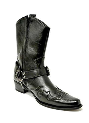 Leather H2 Cowboy Western Chain Belt Mens Riding Boots Buckle Guciani Black gTx5qvwEP