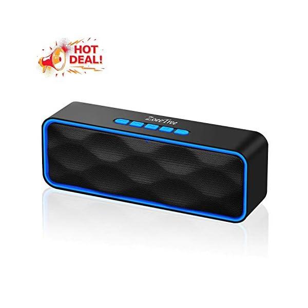ZoeeTree S1 Haut-parleur Bluetooth sans fil, Extérieur, Enceinte stéréo avec Audio HD et Basses Amélioré, Intégré Double Pilote Haut-parleur, Bluetooth 4.2, Mains Libres Téléphone et TF - Blue 1