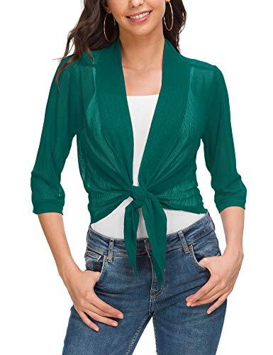 (Women's Cardigan Loose Sweater 3/4 Sleeve Knitted Outwear Jacket Deep Green)