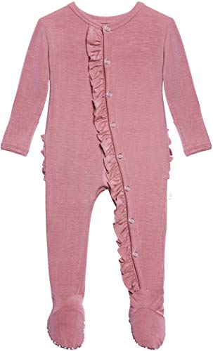 Posh Peanut One Piece Elegant Baby Romper Buttery Soft & Breathable Viscose from Bamboo - Premium Knit Baby Girl Clothes (Dusty Rose, NB)