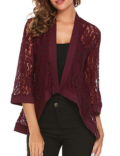 Dealwell Women 3 4 Sleeve Sheer Lace Crochet Open Front Cardigan Tops Wine Red Medium