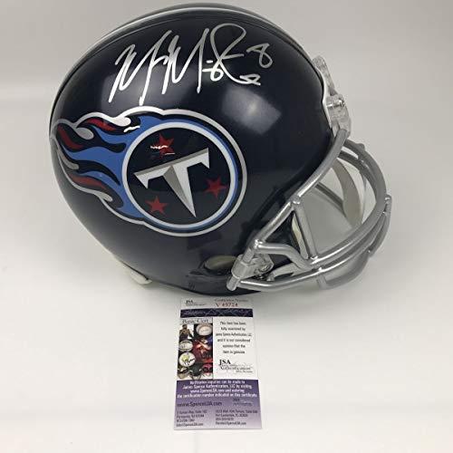 Autographed/Signed Marcus Mariota Tennessee Titans Full Size FS F/S Replica Football Helmet JSA COA ()