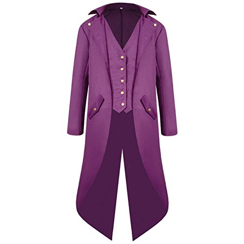 ULUIKY Mens Gothic Tailcoat Steampunk Jacket Victorian Costume