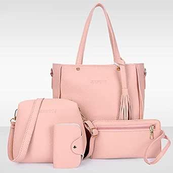Set 4 PCS Women's Bag Leather Pink Color