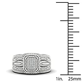 IGI Certified Sterling Silver 1/5ct TDW Diamond Halo Bridal Set