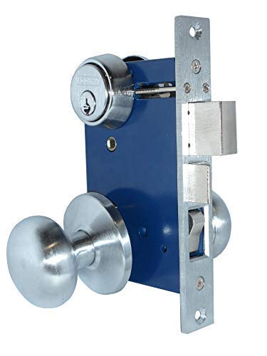 Em-D-Kay 5122 (Like 22AC) Dull Chrome Left Hand Reverse Double Cylinder Iron Gate Ornamental Mortise Lock Set ()