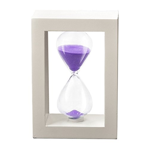 SZAT Hourglass Sand Timer Clock Romantic Mantel Office Desk Coffee Table Book Shelf Curio Cabinet Christmas Birthday Present Gift Box Package(Purple, Photo Frame,30 Minutes)