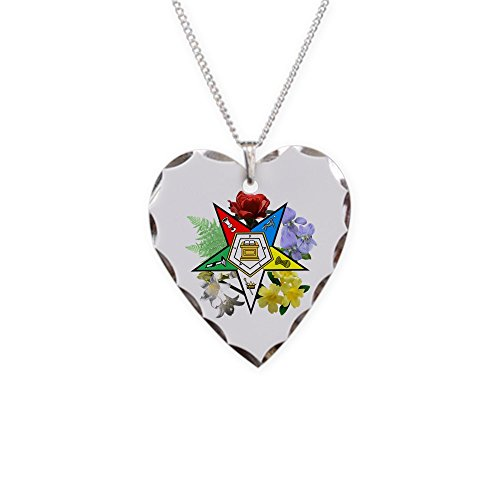 CafePress - Eastern Star Floral Emblems - Charm Necklace with Heart Pendant