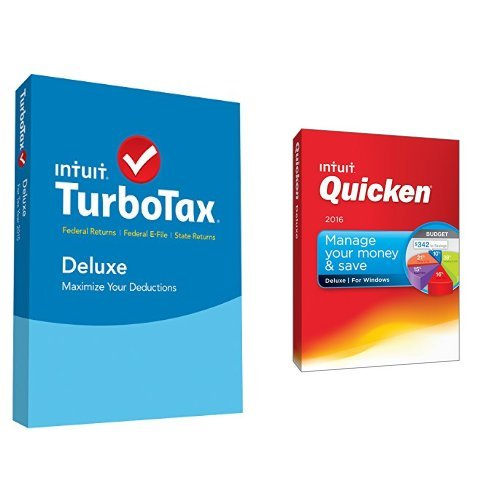 TurboTax Deluxe 2015 Federal + State Taxes + Fed Efile Tax Preparation Software PC/Mac Disc with Quicken Deluxe 2016 PC Disc