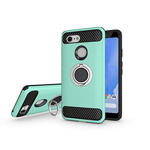 Newseego Compatible with Google Pixel 3 Case, Armor Dual Layer 2 in 1 and Finger Ring Holder Kickstand Fit Magnetic Car Mount for Google Pixel 3-Green