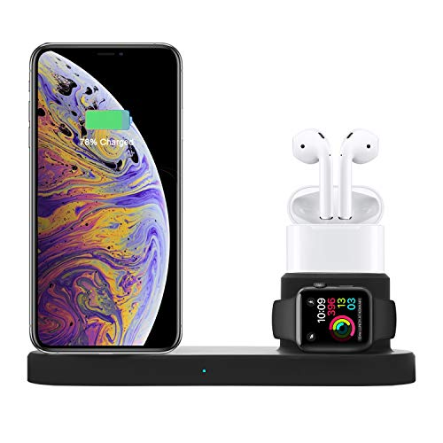 01 Apple - iPhone Wireless Charger, CESCOM 4 in 1 Qi Wireless Charger station for iPhone Xs Max/XR/8, iWatch Series 4/3/2/1 and Airpod, USB for iPad, 10W Fast Wireless Charging Stand for Samsung Galaxy S10/S9/S8