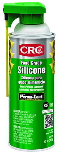 Grade Spray - CRC 03040 Food Grade Silicone Lubricant, (Net Weight: 10 oz) 16oz Aerosol , Clear/White