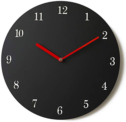 Stephanie Imports Modern Minimalist Black & Red Silent Wall Clock