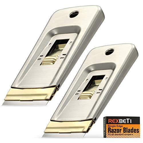 REXBETI Stainless Razor Blade Scraper with Extra 10 Blades