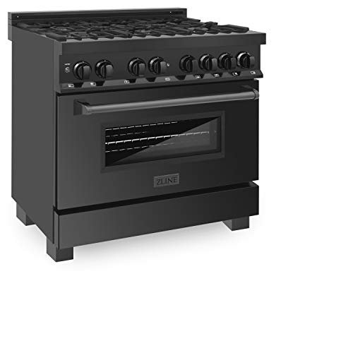 ZLINE 36″ Black Stainless 4.6 cu.ft. 6 Gas Burner/Electric Oven Range (RAB-36)