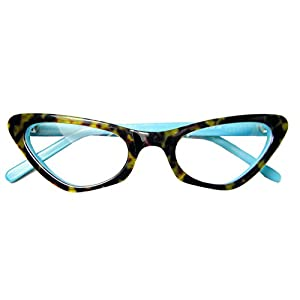 Circleperson women Cat eye glasses frames Spectacles Optical Acetate Tortoise+lake blue-Middle size (Tortoise+lake blue, Clear)