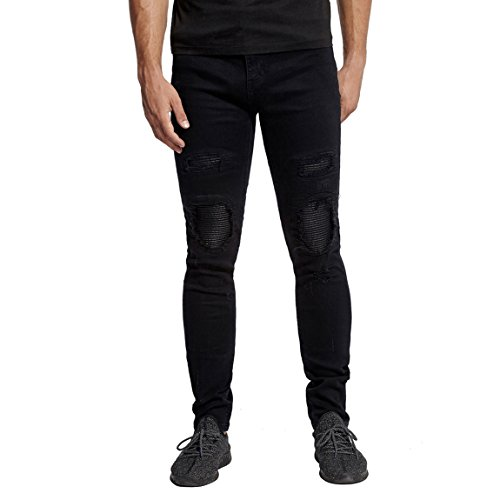 Men's Distressed Skinny Fit Patched Jeans with Rips in Slim Biker Style Black 38