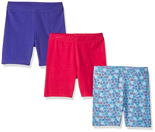Amazon Brand - Spotted Zebra Girls' Big Kid 3-Pack Bike Shorts, Blue Star, Large (10)