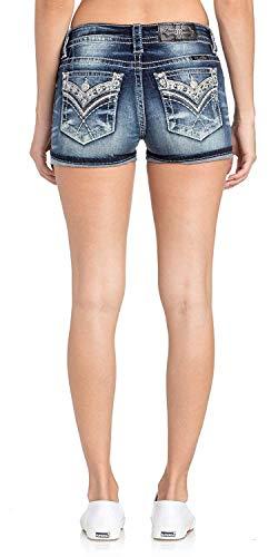Back Embellished Pocket - Miss Me Women's Metallic Silver Embellished Back Pocket Rolled-Cuff Shorts (Dark Blue, 33)