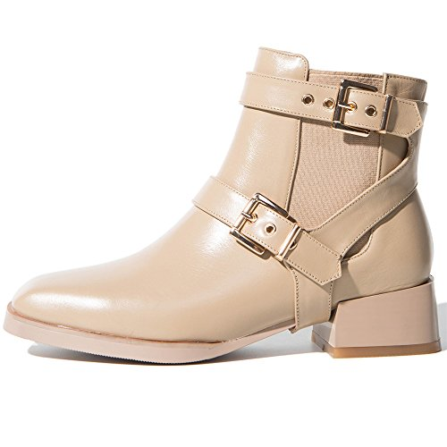 Toe Block Leather Seven Ankle Cow Handmade Boot Comfort Square Heel Nine apricot Women's Buckles HfwXYFxFq