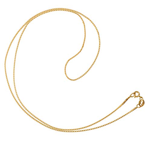 (14K Solid Yellow Gold Necklace   Box Link Chain   18 Inch Length   1.0mm Thick   With Gift Box)