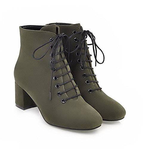 1TO9 Womens Boots Closed-Toe Lace-Up Adjustable-Strap High-Heel Warm Lining Nubuck Outdoor Bootie Urethane Boots MNS02510 Green 061fB