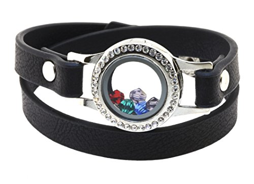 Mandala Crafts Floating Charm Glass Locket Pendant PU Leather Wrap Bracelet with Free Crystal Charms (Black)