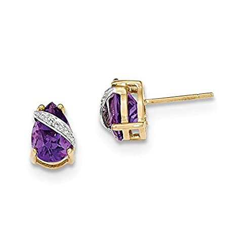 14K Yellow Gold Amethyst and Diamond Pear-Shaped Stud Earrings (0.007 CTTW, I-J Color, I2-I3 Clarity)