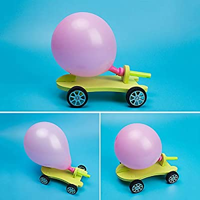 ckinKSurs621 Development Kids Toy for Children DIY Balloon Power Car Recoil Force Kit Technology Experiment Educational Kid Toy - Random Color: Toys & Games