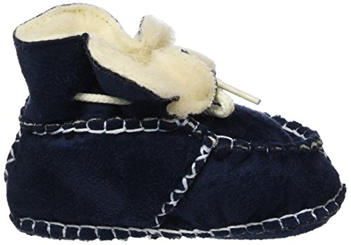 Playshoes Unisex Baby Babyschuhe in Lammfell-Optik Zum Binden Krabbel-& Hausschuhe Blau (marine 11)