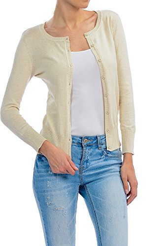 Button Up Cotton Cardigan - YourStyle Basic Solid Button Up Crew Neck Cardigan Sweater (Large, Oatmeal)