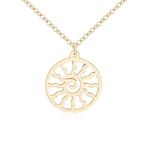 (NOUMANDA Rose Gold Silver Plated Copper Flaming Sun Pendant Fashion Circle Necklace Charm Gift (Gold))