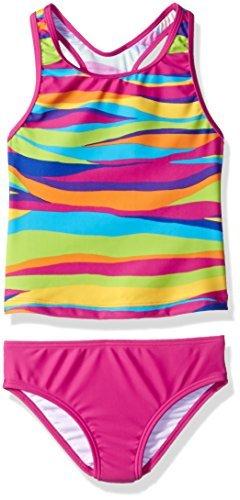 Speedo Girls Racerback Wavy Stripes Tankini 2 piece Swimsuit Pink Size 12