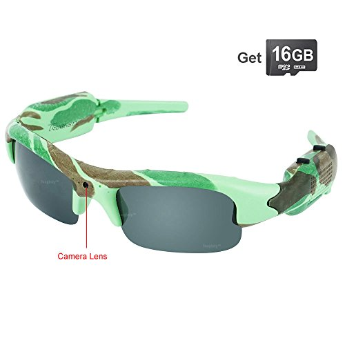 Toughsty 16GB 720P HD Outdoor Hunting Video Camera Camo Polarized Sunglasses Action Video - Sunglasses Video And Take Photos That