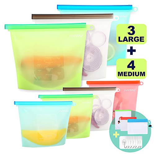 Reusable Silicone Food Storage Bags ,Yeeone 17 Pack Food Grade Airtight Seal Versatile Preservation Bags for Sandwich, Snack, Vegetable, Liquid, Meat, lunch, fruit, Freezer Containers (Plastic Stand Up Bags)