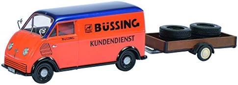 Schuco 450238900 - DKW Schnelllaster Buessing mit Anhänger Maßstab 1:43, orange/blau