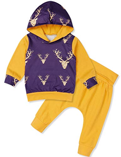 Toddler Infant Baby Boys Deer Long Sleeve Hoodie Tops Sweatsuit Pants Outfit Set 0-6 Months Yellow