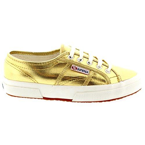 Womens Superga 2750 Cotmetu Plimsoll Metallic Low Top Casual Sneakers Goud