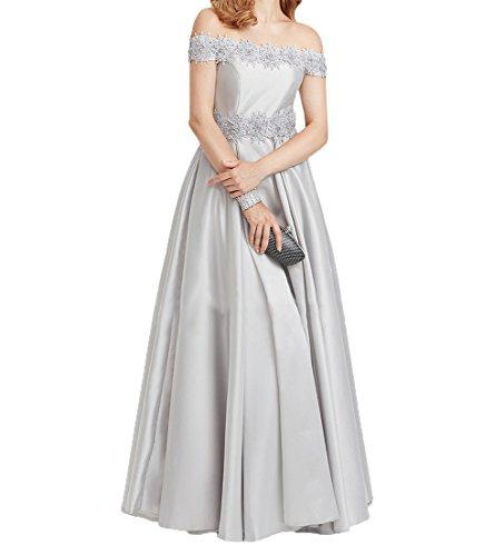 Charmant Kurzarm Silber Spitze Damen Partykleider Elegant Promkleider Abendkleider Brautmutterkleider Lang Festlichkleider BHqBtr4WZ