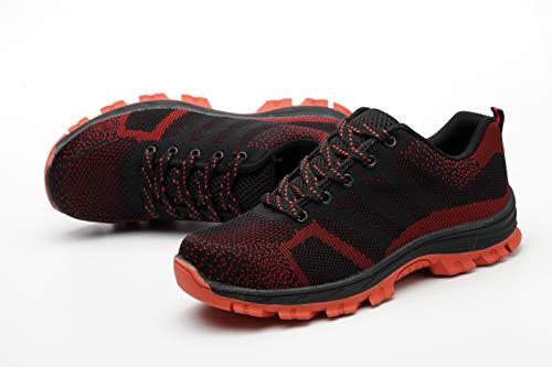 Unisex Entrenador Zapatillas Senderismo Deportivos Ali Trabajo Comodas Mujer S3 ranspirables de Unisex Ligeras tone Zapatos Acero de Rojo02 Puntera Hombre Zapatillas Seguridad Antideslizante de con de CqpZawC