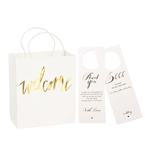 Ling's moment Set of 25 White Gold Welcome Gift Bags with Door Hanger Signs for Wedding Hotel Guests, Weekend Wedding Guests, Destination Wedding Favors -