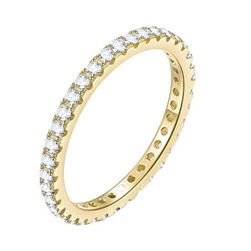 EAMTI 2mm 925 Sterling Silver Wedding Band Cubic Zirconia Full Stackable Eternity Engagement Ring Size 4-10 (Gold Plated, 6.5) by EAMTI